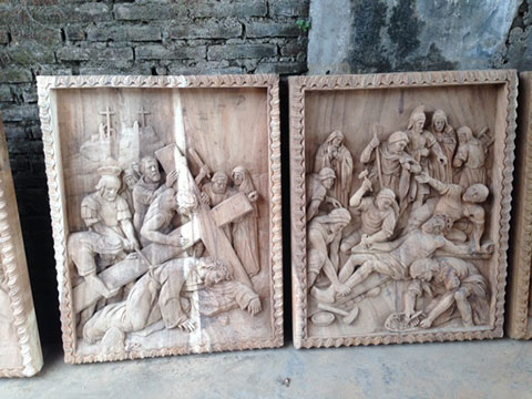 custom design bali church wood wall sculpture 1