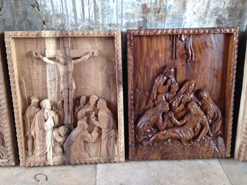 custom design bali church wood wall sculpture 2