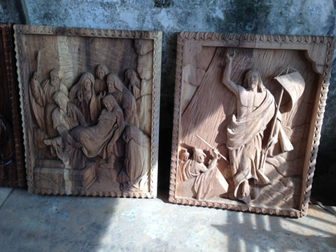 custom design bali church wood wall sculpture 3