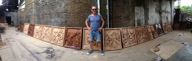 custom design bali church wood wall sculpture 5